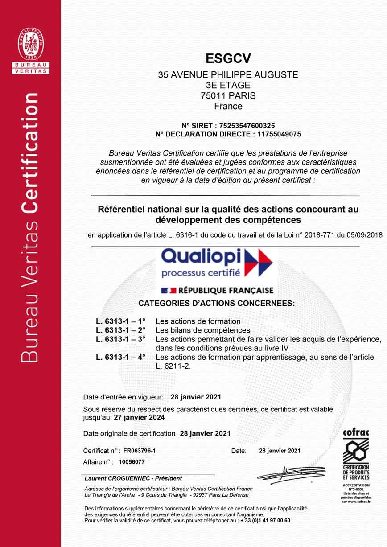 Qualiopi certificat